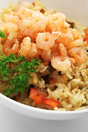 Rice with Shrimp, Cabbage, Mushrooms and Paprika photo