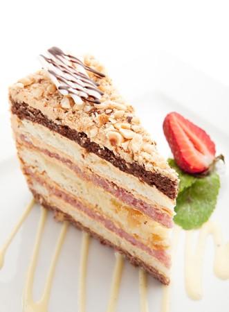 homemade cake: Homemade Cake with Cream, Mint and Strawberry