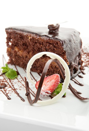 Dessert - Chocolate Cake with Strawberry and Mint photo