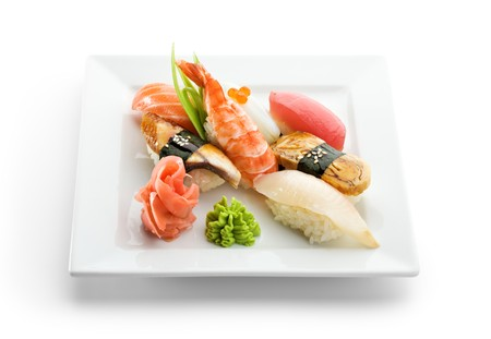 Seafood Plate - Sushi with Wasabi and GInger photo