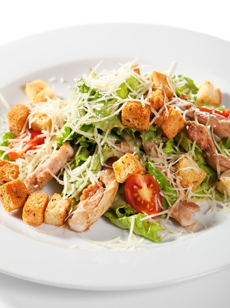 caesar salad: Caesar Salad with Meat. Comprises Romaine Salad Leaf and Croutons Dressed with Parmesan Cheese