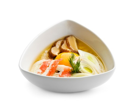 broth: Rice Soup with Crab Meat and Egg Yolk Stock Photo