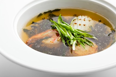 Soup with Shrimps and Scallop and Seaweed photo