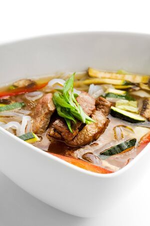 Soup with Rice Noodles, Veal and Vegetables photo