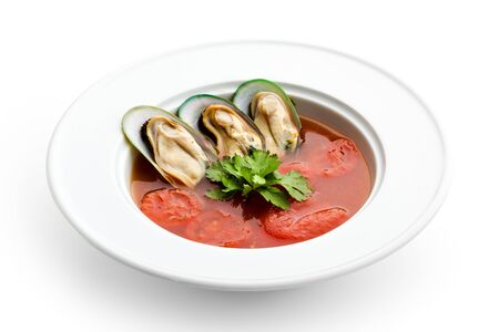 Tomato Soup with Mussels and Herbs photo