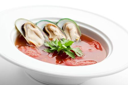 Tomato Soup with Mussels and Herbs Stock Photo - 7772756