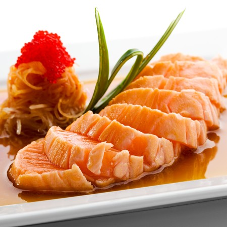 Japanese Cuisine - Salmon Fillet with Noodles and Sauce Stock Photo - 7772754