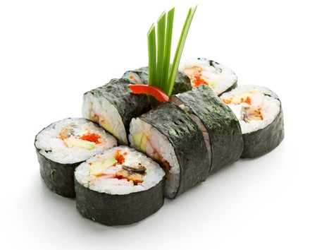 Japanese Cuisine - Sushi Roll with Shrimps and Conger, Avocado, Tobiko and Cheese photo