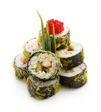 Tempura Maki Sushi - Deep Fried Roll made of Smoked Eel, Crab Meat and Cream Cheese inside. Served with Lettuce and Tobiko Caviar photo