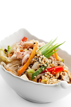 Japanese Cuisine - Rice Noodle with Seafoods and Vegetables photo
