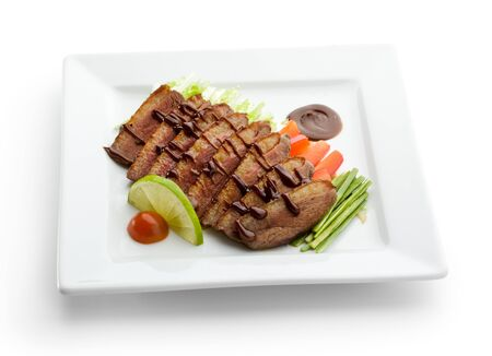Roasted Breast in Sesame Sauce with Vegetables and Lime photo