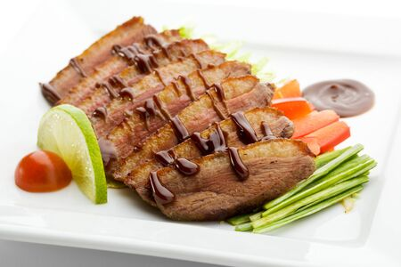 Roasted Breast in Sesame Sauce with Vegetables and Lime Stock Photo - 7773181