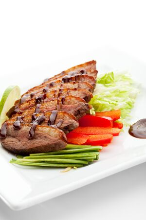 Roasted Breast in Sesame Sauce with Vegetables and Lime Stock Photo - 7772957