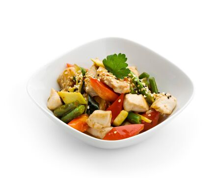chinese noodle: Chinese Cuisine - Chicken with Vegetables Stock Photo