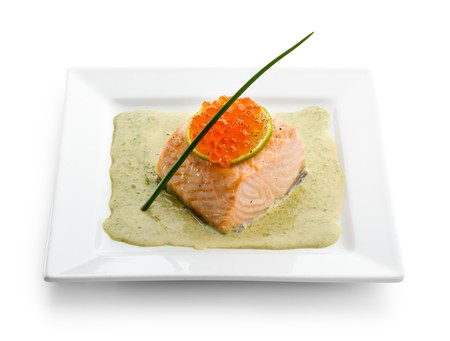 Salmon Fillet in Cream Sauce with Salmon Roe photo
