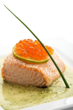 Salmon Fillet in Cream Sauce with Salmon Roe Stock Photo - 7772961