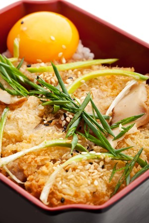 Deep Fried Pork with Vegetables on Rice photo