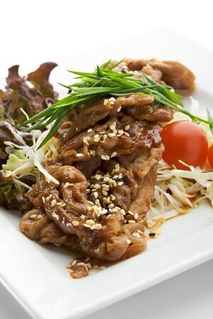 roasted sesame: Pork with Vegetables in Ginger Sauce Stock Photo