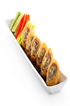 Deep Fried Pork Roll with Vegetables and Sauce photo