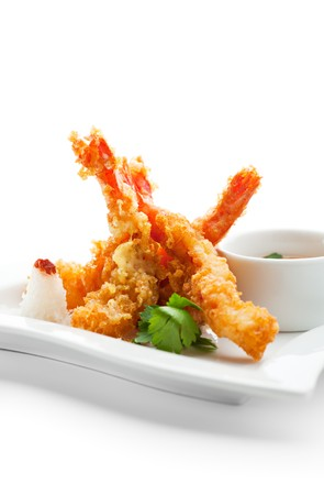 Japanese Cuisine - Tempura Shrimps (Deep Fried Shrimps) with Vegetables photo