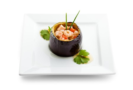 Eggplant Stuffed with Seafoods and Vegetables photo