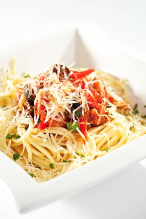 Pasta with Vegetables and Parmesan Cheese Stock Photo - 7772947