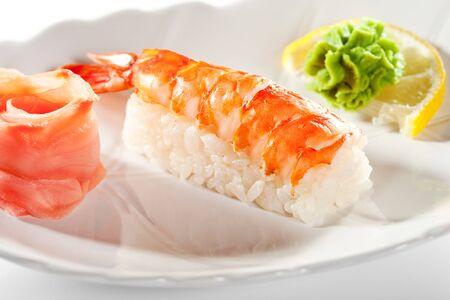 Japanese Cuisine -  Shrimp Nigiri Sushi with Ginger and Wasabi(ebi) Nigiri Sushi with Ginger and Wasabi photo