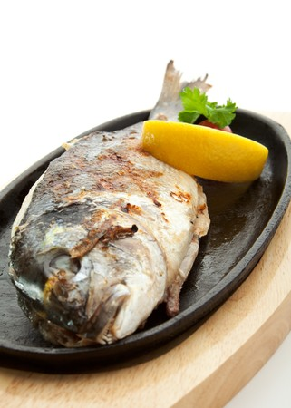 Grilled Foods - Grilled Fish with Lemon and Cherry Tomato photo