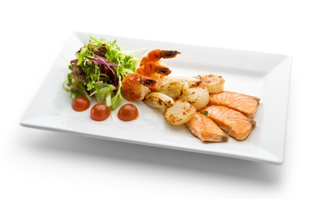Grilled Foods - Seafood with Fresh Salad Stock Photo - 7773305