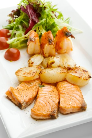 Grilled Foods - Seafood with Fresh Salad photo
