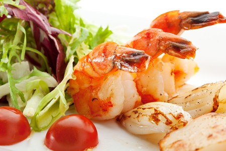 Grilled Foods - Seafood with Fresh Salad Stock Photo - 7773330