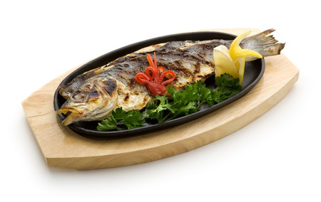 Grilled Foods - Grilled Fish with Lemon and Parsley Stock Photo - 7773324