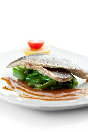 Steamed Fish with Sauce, Lemon and Cherry Tomato Stock Photo - 7773303
