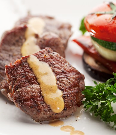 meat dish: Beef Steak with Vegetables and Parsley