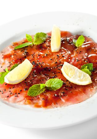 carpaccio: Appetizer - Tuna Carpaccio with Parmesan Cheese, Herbs and Lemon Slice