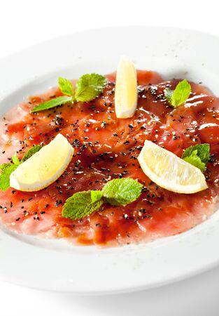 carpaccio: Appetizer - Tuna Carpaccio with Parmesan Cheese, Herbs and Lemon Slice