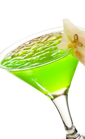 Cocktail with Midori, Rum, Lychee and Apple Stock Photo - 8006101