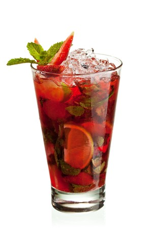 nonalcoholic: Berries Mojito with Energy Drink, Strawberry and Lime and Sweet Syrup. Nonalcoholic Beverage