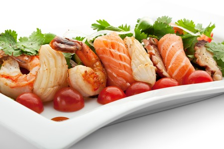 Seafoods with Vegetables and Herbs photo