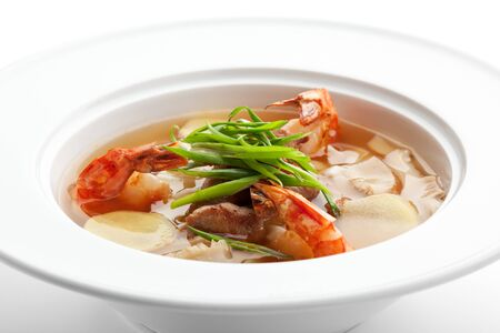 Spicy Soup with Pork (or Chicken) Slice, Shrimps and VegetablesSlice, Shrimps and Vegetables Slice, Shrimps and Vegetables photo