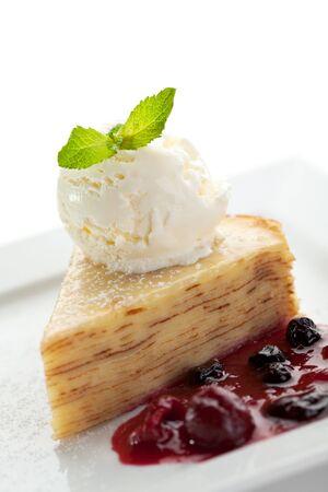 Dessert - Pancake Cake with Ice Cream, Berries Jam and Fresh Mint Leaf Stock Photo - 8006142