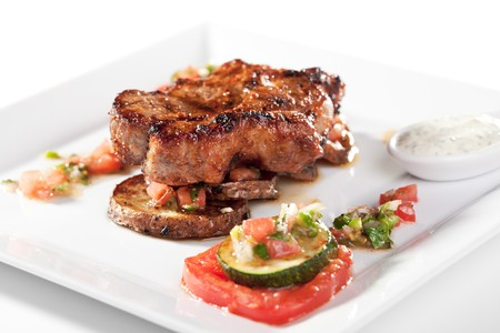 Grilled Foods - BBQ Pork on Potato with Vegetables photo
