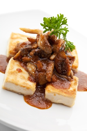 person appetizer: Tofu (Soy-bean Curd) with Mushrooms and Sauce
