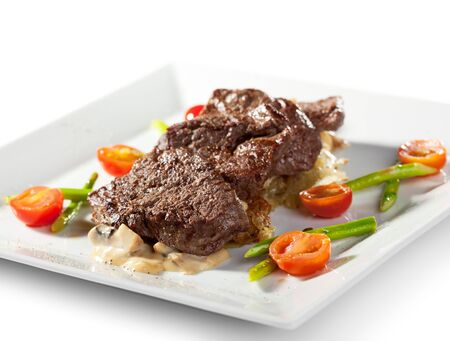 Beef Steak with Cherry Tomato and Asparagus photo