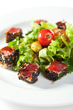 tuna salad: Thai Dishes - Salad with Sliced Tuna in Sesame, Cherry Tomato and Olives