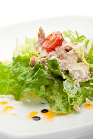 tuna salad: Salad with Tuna, Fresh Vegetables and French Mustard and Roast Potato Chips