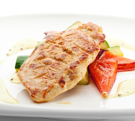 BBQ Chicken Breast on Grilled Vegetables photo