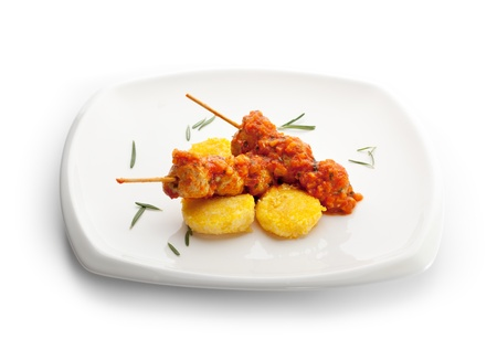 Chicken Kebab in Tomato Sauce with Fried Corn photo