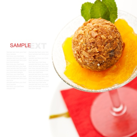 Dessert - Panna Cotta with Orange Jam, Passion Fruit and Chocolate Truffle Stock Photo - 11417674