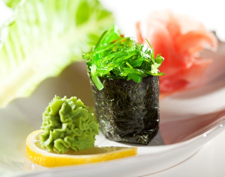 Chuka Seaweed  Gunkan Sushi Garnished with Ginger and Wasabi Stock Photo - 11950699